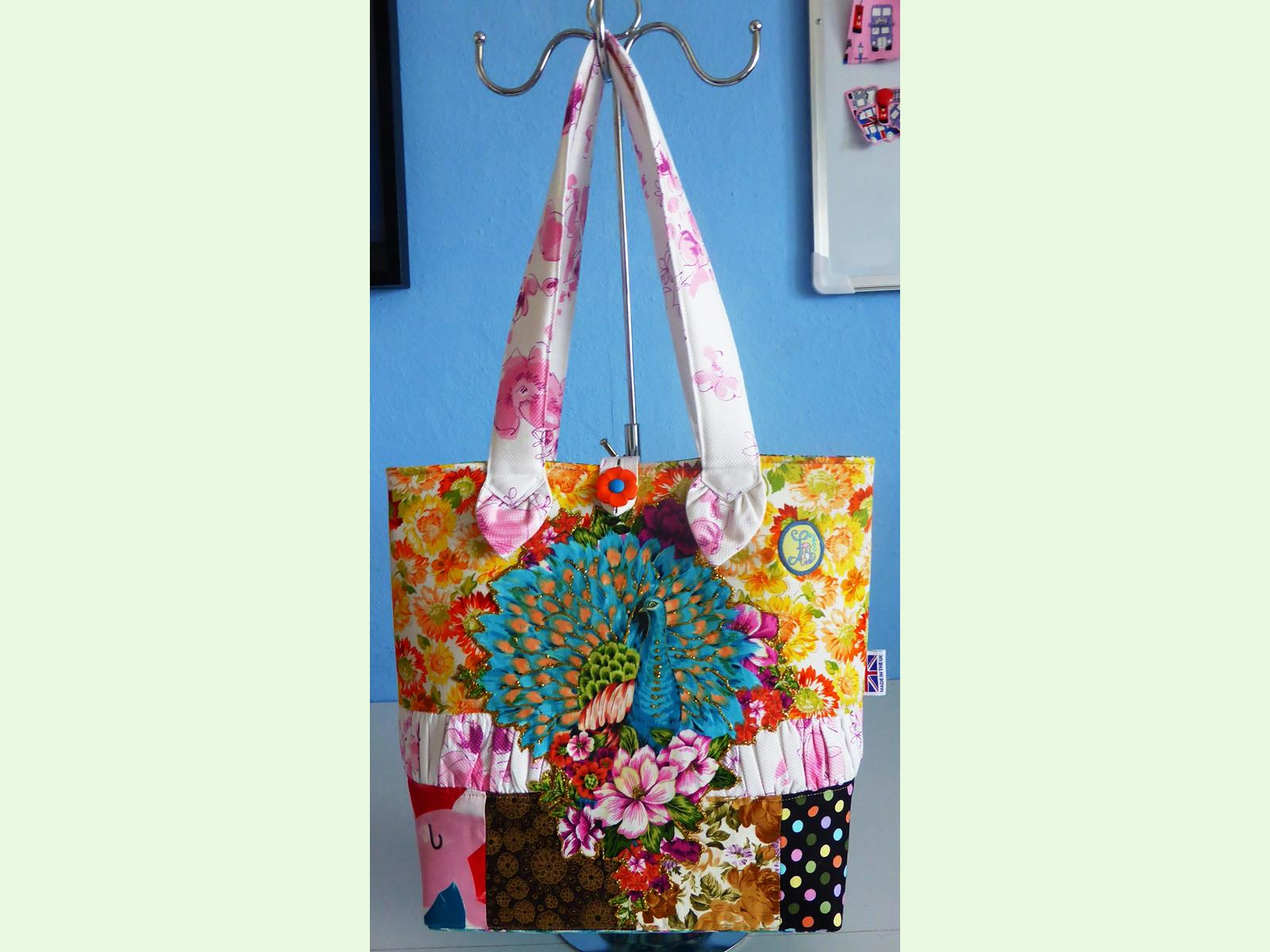 Peafowl Patchwork Tote Bag